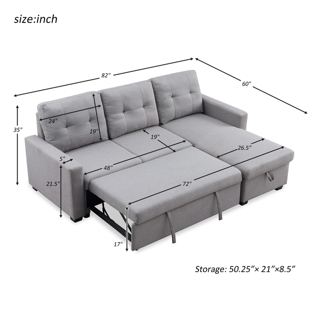 Sectional Sofa Corner Bed With Storage  2