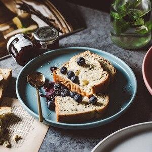 Image 4 - ירי צילום מזון כלי שולחן מוצק צבע קרמיקה צלחות פשוט & יצירתיות בשר צלחת עגול קינוח צלחת סלט מנות