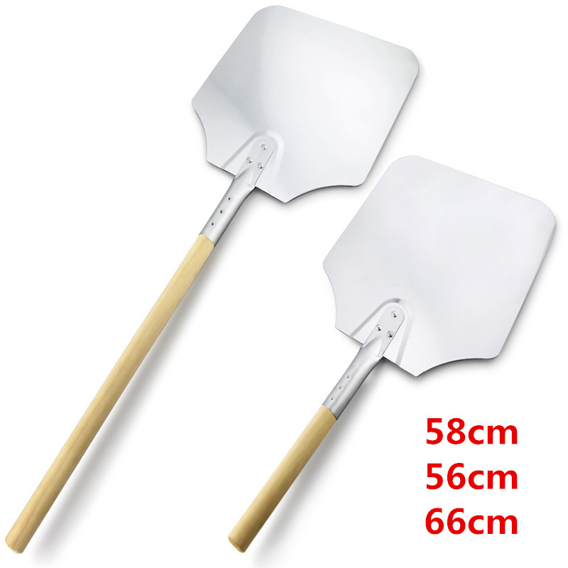 58 56 66 cm Aluminum Pizza Peel Shovel with Wooden Handle Cake Shovel Baking Tools Cheese Cutter Peels Lifter Tool Pizza Shovel