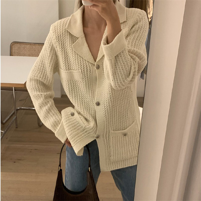 HziriP Loose Women Cardigans All-Match Stylish Warm 2019 Autumn Streetwear Brief Chic Pockets Soft Casual Knitted Sweaters
