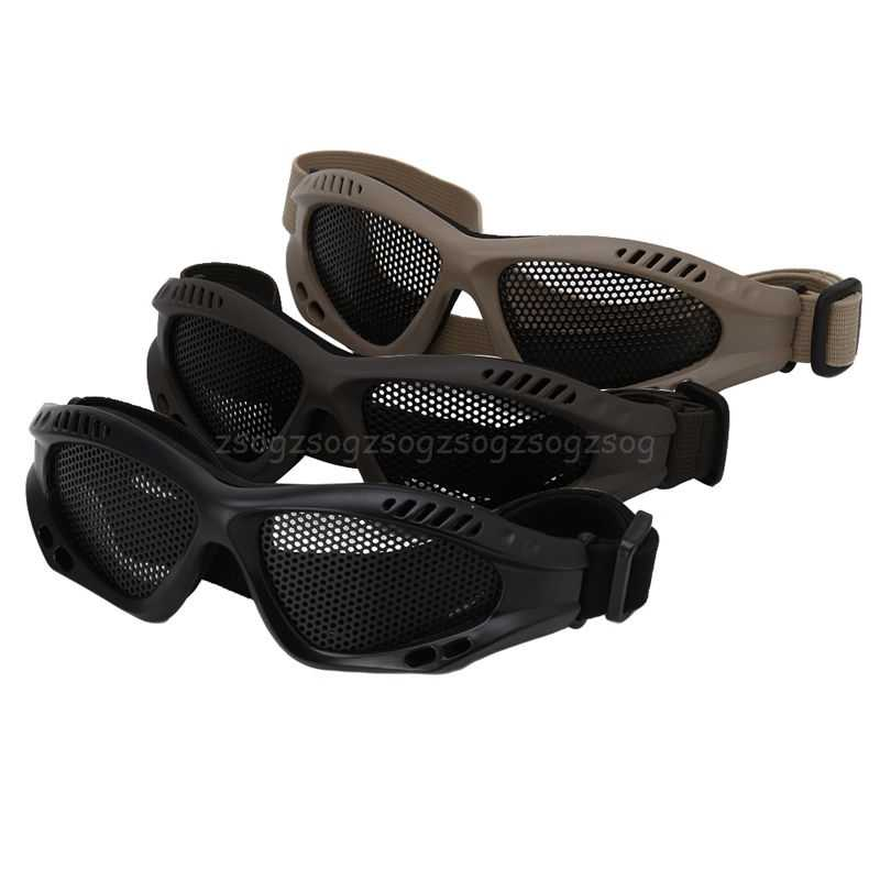 Tactical Motorcycle Airsoft Eye Protection Goggles Anti Fog Mesh Metal Glasses J24 19 Dropship