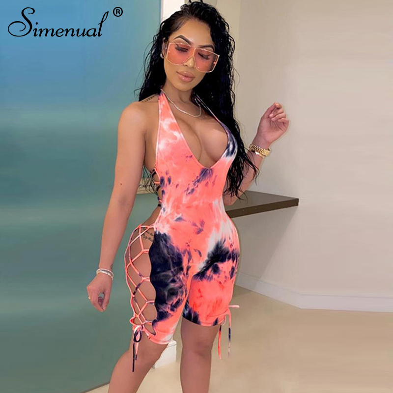 Simenual Tie Dye Biker Shorts Playsuits Women V Neck Backless Sexy Hot Ribbed Rompers Lace Up Bodycon Sleeveless Summer Playsuit