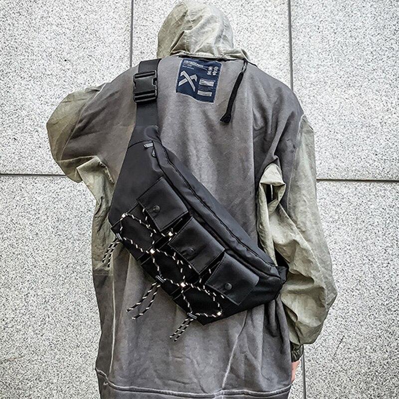 Men Function Tactical Chest Bag Reflective Male Messenger Bag Female Phone Shoulder Bags Women Chest Pack High Capacity Pockets