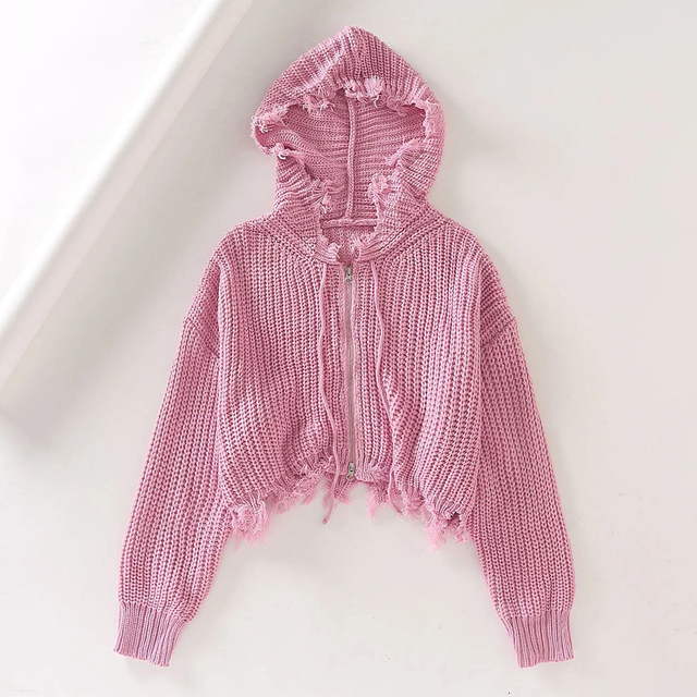Tassle Hooded Zip Up Sweater