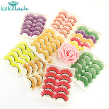Kekelash 5 Pairs Red, Green, Yellow, Pink Colored Eyelashes for Wholesale Colorful 3D Faux Lashes in Bulk