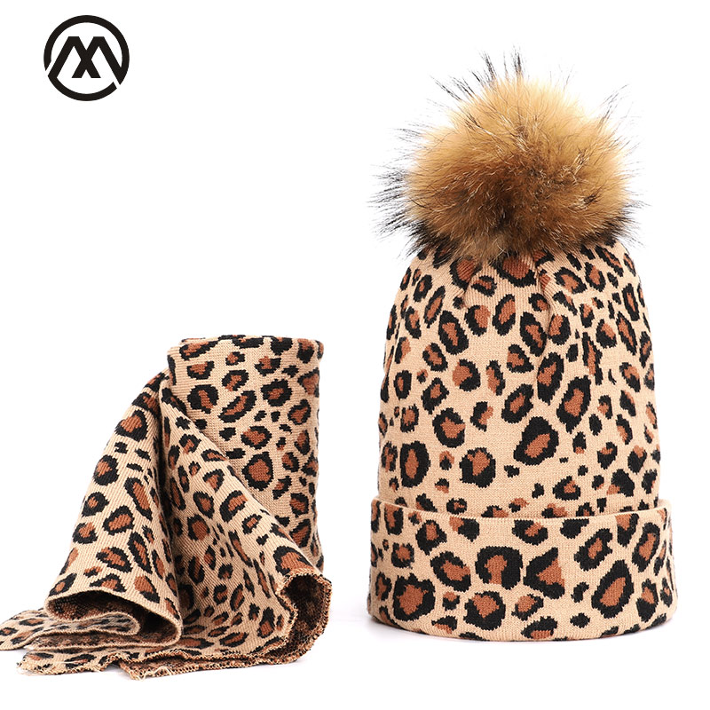 2019 Leopard Women's Headgear Raccoon Fur Pom Poms Women's Winter Warm Hat With Women's Earsmale Hat Turban Woman Hats Beanie