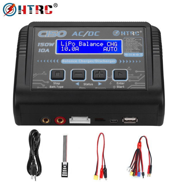 Hot Sale HTRC C150 Lipo Charger Battery Rc AC/DC 150W 10A RC Balance Discharger for LiPo LiHV LiFe Lilon NiCd NiMh Pb Battery