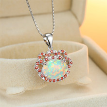 Cute Female White Opal Pendant Necklace Boho Purple Crystal Hollow Chain Necklaces For Women Charm Silver Oval Wedding Necklace stylish rhinestoned fake crystal oval necklace for women