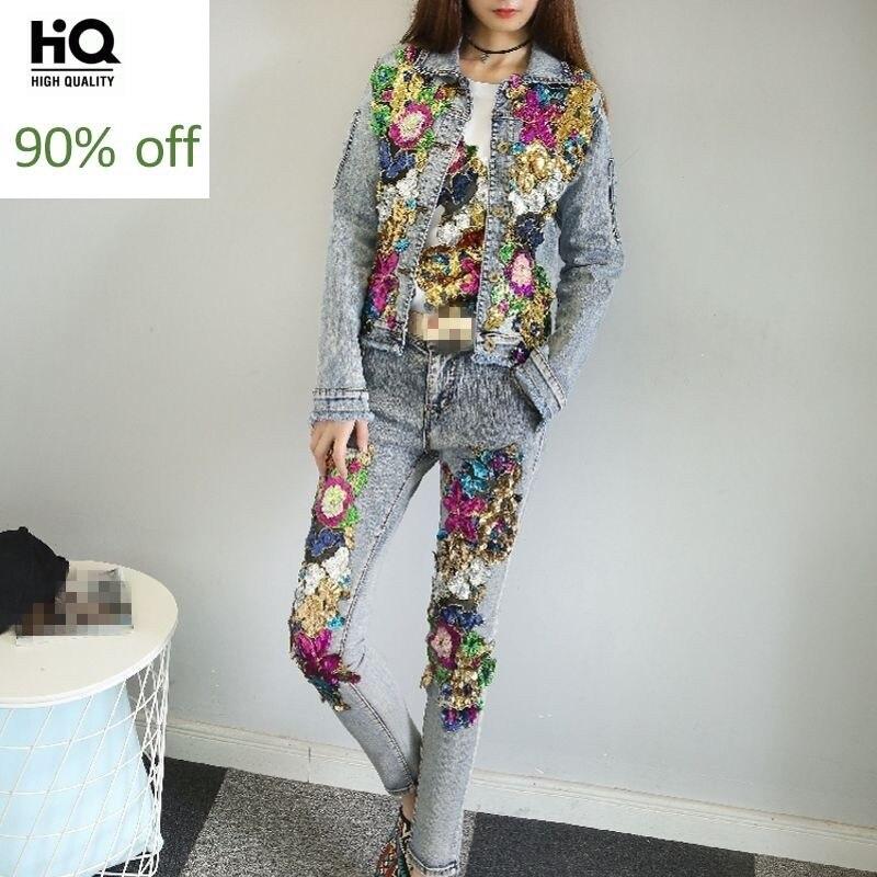 New Fashion Women Punk Style Zipper Sequins Flower Bling Sets Lady Denim Long Pants Sets Crystal Slim Fit Plus Size Female Coats