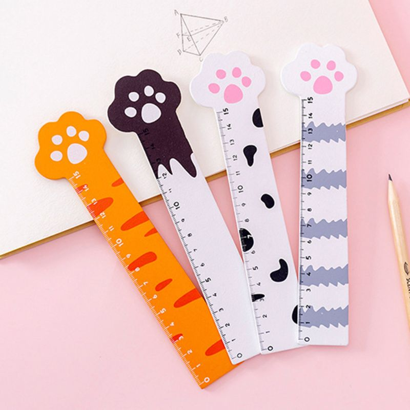 15cm Kawaii Cat Paw Wooden Ruler Measuring Tools School Office Supplies Stationery Cute Student Kids Gifts