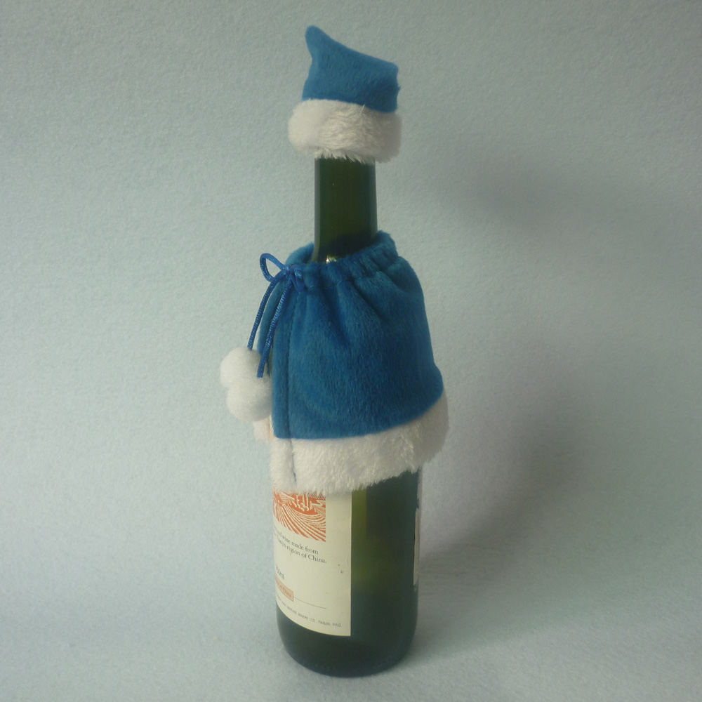 2pcs set Blue Christmas Shawl Wine Bottle Decor Set Santa Claus Bottle Cover Clothes Xmas Home Party Ornament Table Decoration in Party DIY Decorations from Home Garden