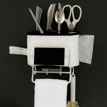 Wall Mounted Kitchen Storage Rack Caddy Cutlery Blocks Hanger Hooks Organizers Wall-mounted kitchen storage rack A1
