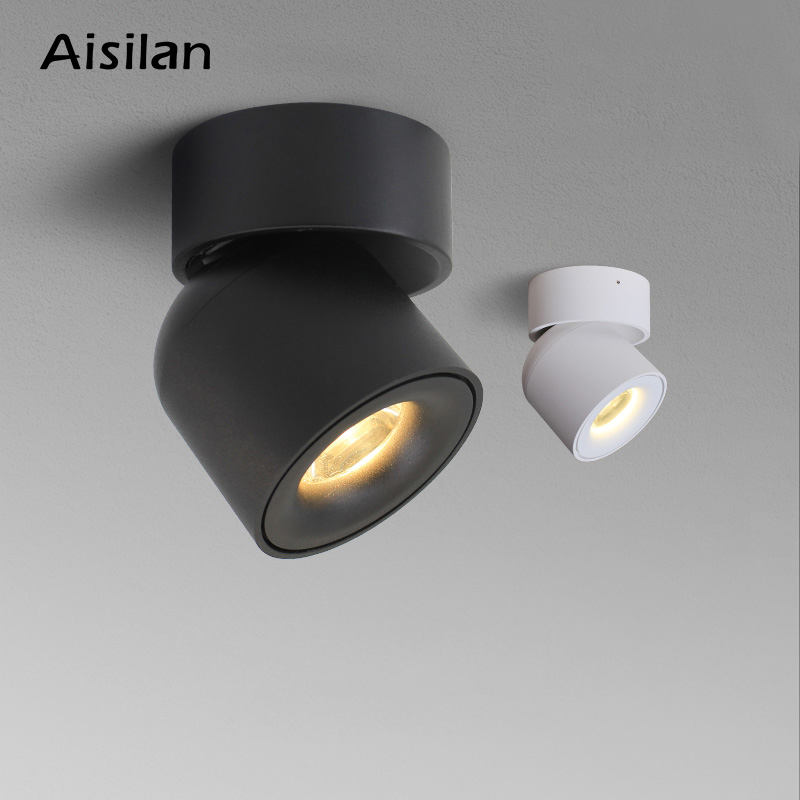 Aisilan LED Ceiling light Surface mounted  360 Degrees Round Curve Rotation  lamp Cylinder Creative 7W 9W CREE COB Spot Light