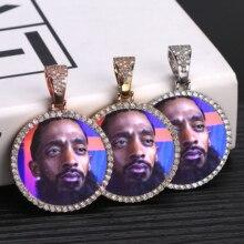Collier à pendentif avec médailles à mémoire de forme personnalisée avec chaîne de Tennis, bijoux Hip Hop, chaîne en Zircon cubique