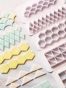 3pcs Square Geometric Cutters Fondant Cookie Cutter Geometry Cake Mold Fondant Mold Cake Decorating Tools Baking 6 Designs