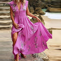 Fashion Slim High Waist Long Party Dress Victorian Fairy Summer Floral Print New Dress Women Tassel V Neck Sleeveless Boho Dress