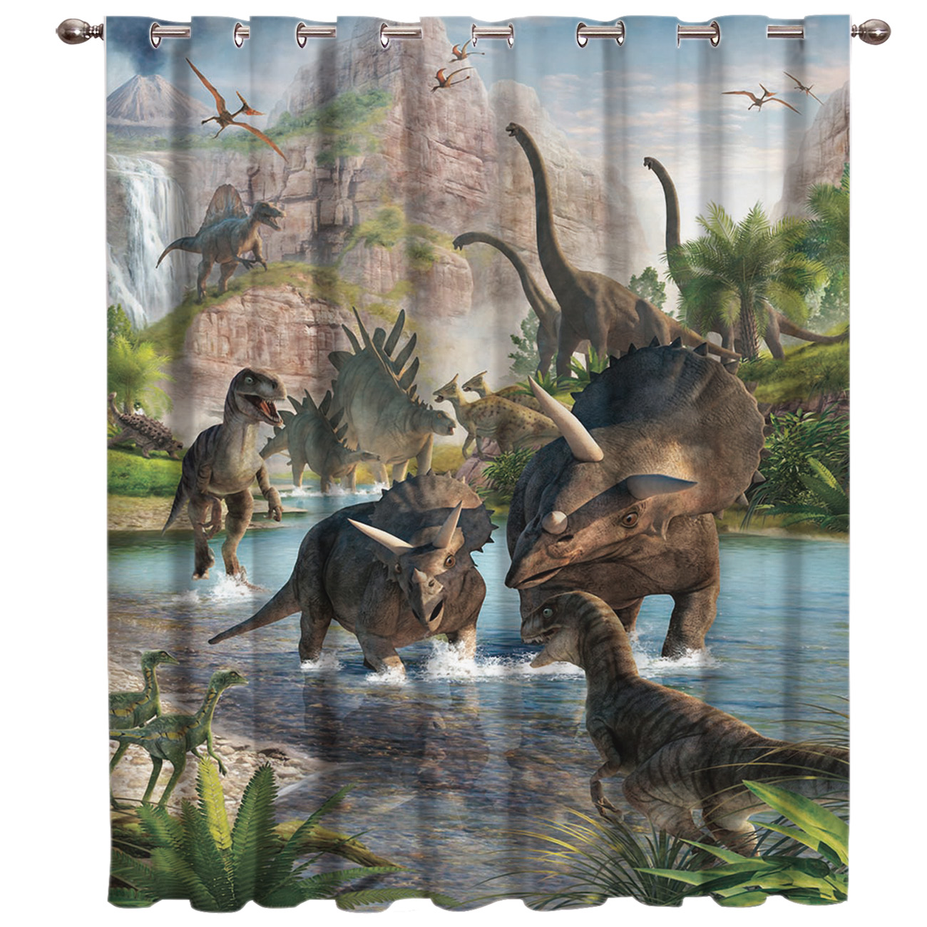 Jurassic Period Dinosaur Room Curtains Large Window Living Room Decor Bathroom Bedroom Drapes Decor Kids Window Treatment