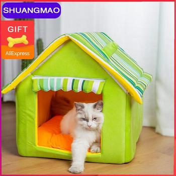 Hot Sell Cat Pet House Dog Bed For Pets Mat  Kennel Beds Dogs Sofas Small Medium Cats Outdoor Detachable Stripes Cover Products cat hammock bed detachable breathable cats products for pets top quality pet bed for cats cama para gato