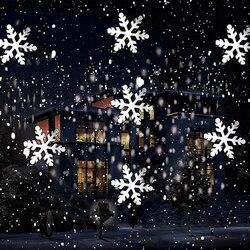 1 conjunto de natal floco de neve luz laser projetor de neve ip66 em movimento neve ao ar livre jardim lâmpada do projetor a laser para a decoração do ano novo