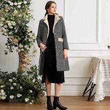 Зимние женские клетчатые пальто из шерсти и синтетического волокна
