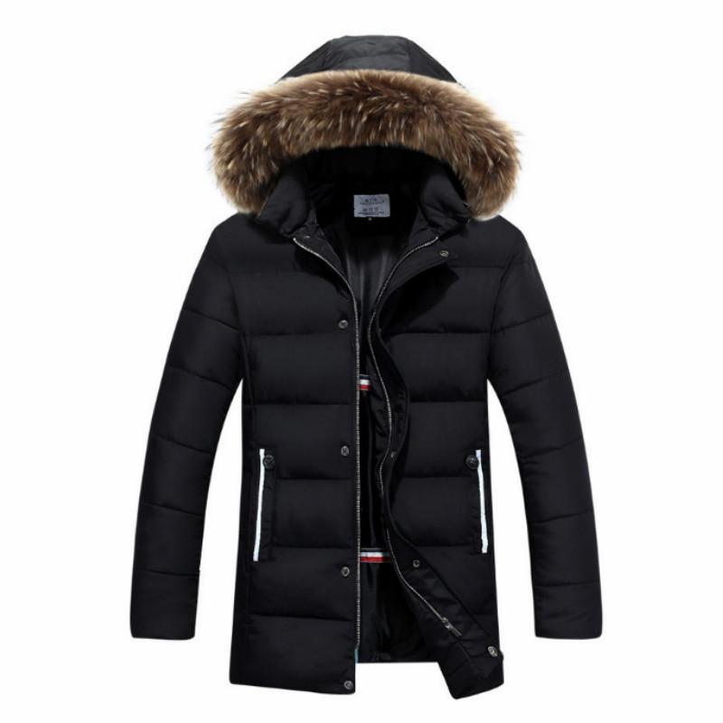 2019 Men's Medium Length Coat Cotton Parka European American Outerwear Loose Cotton Clothing Male Jacket Parka Winter Keep Warm