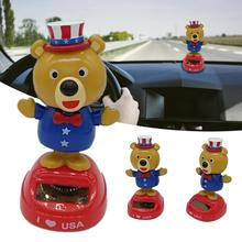 Car Ornament Solar Powered Dancing Shaking Cute Swinging Bear Car Shaking Head Doll For Funny Kids Gift