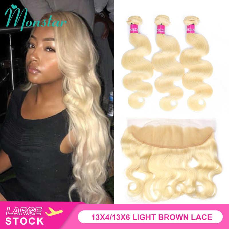 Monstar remy cor loira cabelo onda do corpo 2/3/4 pacotes com 13x4 orelha a orelha fechamento frontal brasileiro cabelo loiro humano 613
