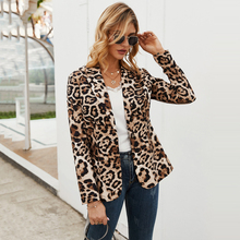Women Blazer Jacket OL Leopard Printed Fashion Spring Autumn Thin Coats Outerwear 2020 Clothes Top Jacket Woman Blazers Feminino