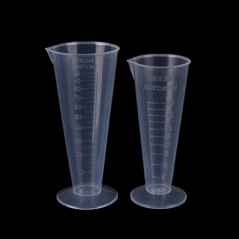 50ml / 100ml Transparent Plastic Cone Measuring Cup With Scale Graduated Cylinders Laboratory Kitchen Measure Accessories image