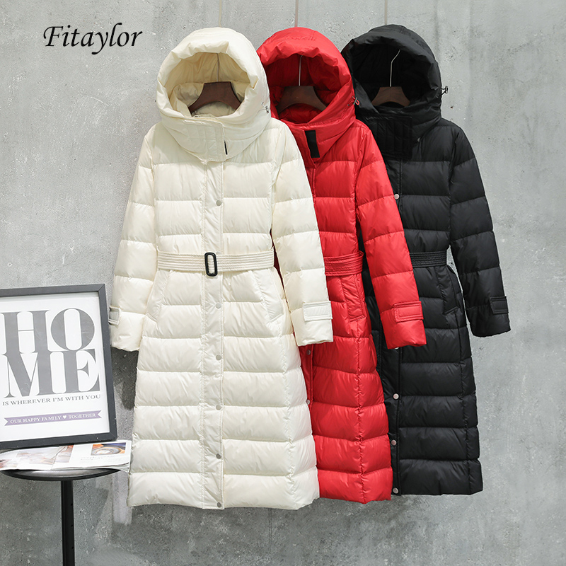 Fitaylor Winter White Duck Down Parka Women Hooded Ultra Light Long Down Jacket Coat Slim Single Breasted With Belt Outerwear