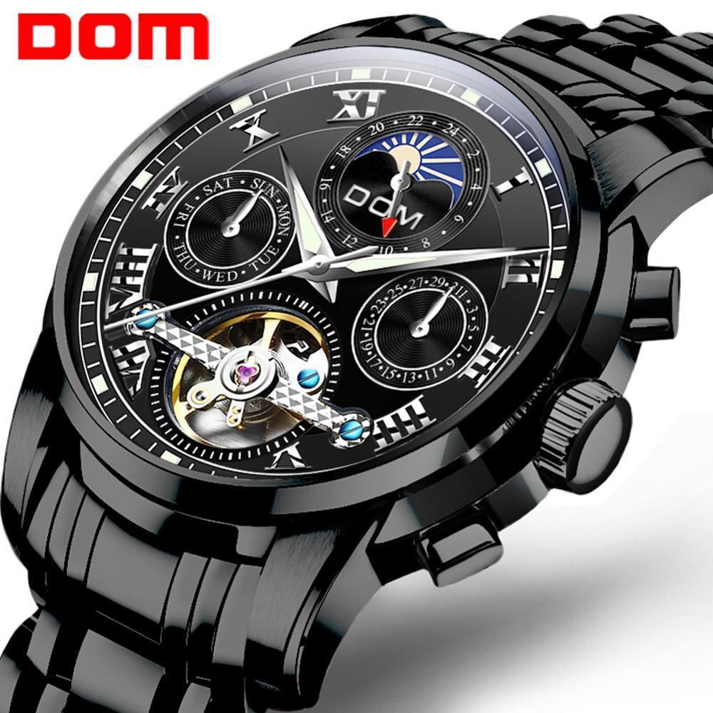 DOM Brand Men Watches Automatic Mechanical Watch Tourbillon Sport Clock Black Steel Casual Business Retro Wristwatch  men watch