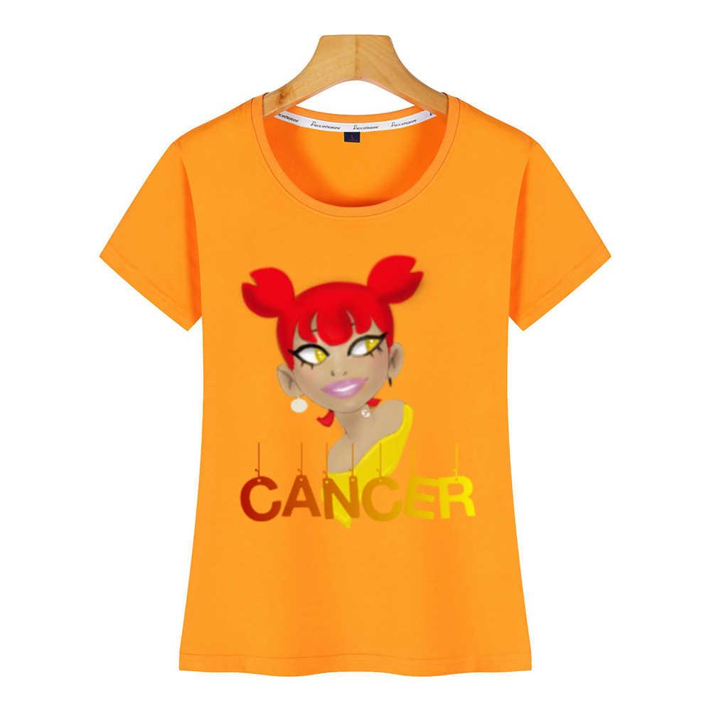 T Shirt Wanita Kanker Zodiak O-Leher Vintage Kustom Wanita Tshirt