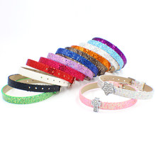 1pc Sequins PU Leather Sequin Wristband bracelet colorful DIY Accessory 8mm wide 21cm length fit 8mm slide charm as gift(China)