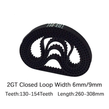 PU with Steel Core GT2 Belt Black Color 2GT Timing Belt 6mm 9mm Width 260-308 Length 130-154Teeth For 3d printer Free Shipping wholesale 3d printer synchronous gt2 belt for reprap ultimaker other printer 1m length free shipping