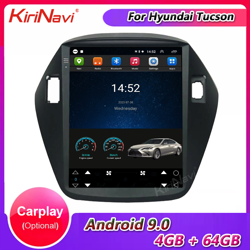 KiriNavi Vertical Screen Tesla Android 9.0 Car Radio For Hyundai Tucson ix35 Car Multimedia Player GPS Navigation 4G 2009 - 2014 image