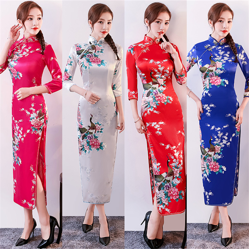 Traditional Chinese Cheongsam Dress For Women Satin Peacock Long Sleeve Qipao Party Wedding Dresses Adult Clothing S-6XL