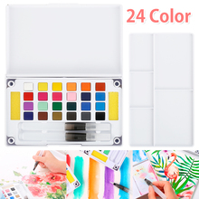 High-quality solid watercolor paint set 24 color art supplies-small and portable hand-painted paint with two fountain pens