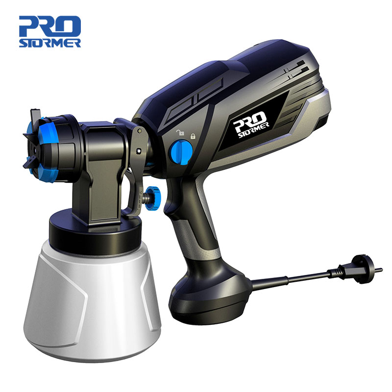 PROSTORMER 120V/230V Electric Spray Gun 600W HVLP Home Paint Sprayer Flow Control 4 Nozzle 1000ml Capacity Easy Spraying