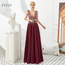 Elegant Burgundy Lace Long Evening Dress 2020 Sexy Deep V-neck A-line Evening Prom Gowns Sleeves Robe de Soiree Longue burgundy lace up front v neck long sleeves jumper