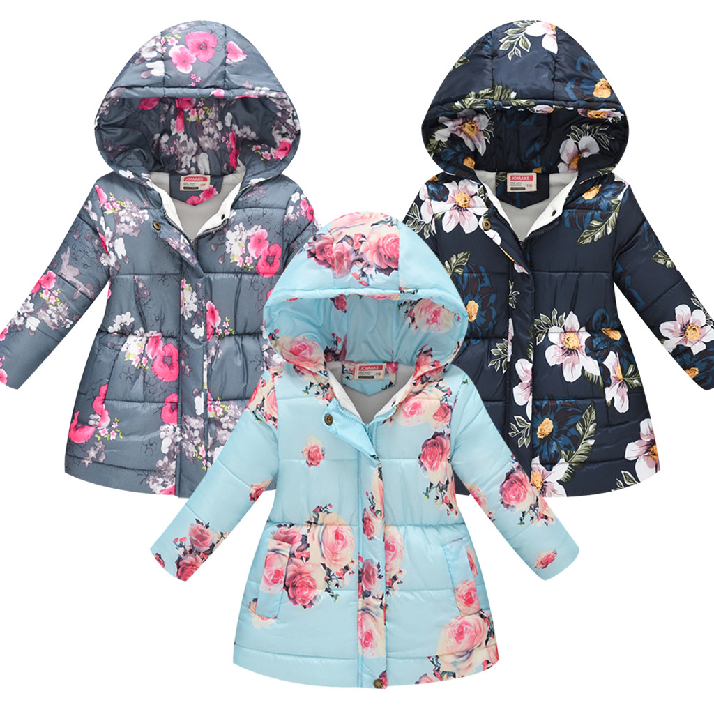 Toddler Baby Girls Floral Hooded Coat Outerwear Kids Jackets Warm Winter Clothes
