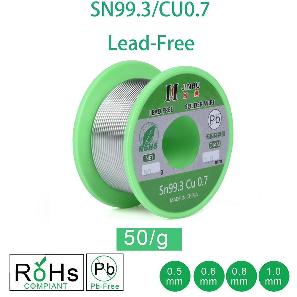50g Lead-free Solder Wire 0.5-1.0mm Unleaded Lead Free Rosin Core For Electrical Solder RoHs