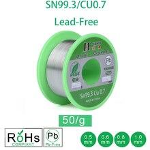 50g kurşunsuz lehim teli 0.5 1.0mm kurşunsuz kurşunsuz Rosin çekirdek elektrik lehim RoHs