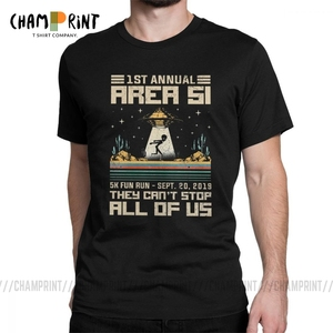 Men 5k Fun Run They Can't Stop All Of Us T Shirt Storm Area 51 Alien UFO Space Ship Saucer Clothes Vintage Tees Classic T-Shirts(China)