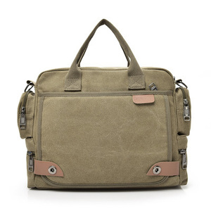 Image 5 - Multi function canvas men bag Fashion shoulder bag for men Business casual crossbody messenger bag briefcase travel bags