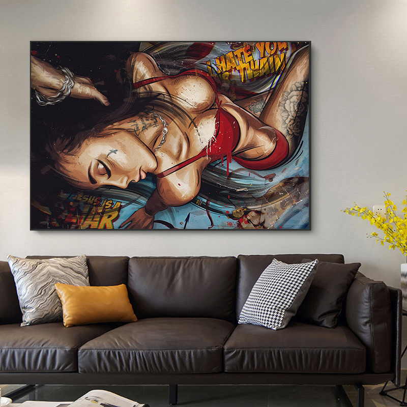Modern Sexy Women Oil Paintings Figure Painting Wall Art Posters and Prints on Canvas Decorative Picture for Living Room Decor(China)
