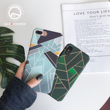 For iphone 7 8 Plus 6s Dark Green Geometric Painting Cover Case For iPhone X XS 7 8 Plus 6 6s Gray Matte Marble Phone Case usams genius series case for iphone 7 plus gray