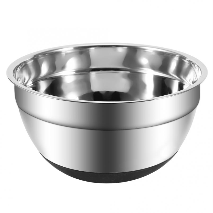 Bowl Stainless Steel Egg Beating Pan Mixing Bowl with Non-Slip Silicone Base Kitchen Tool Tableware Food Container