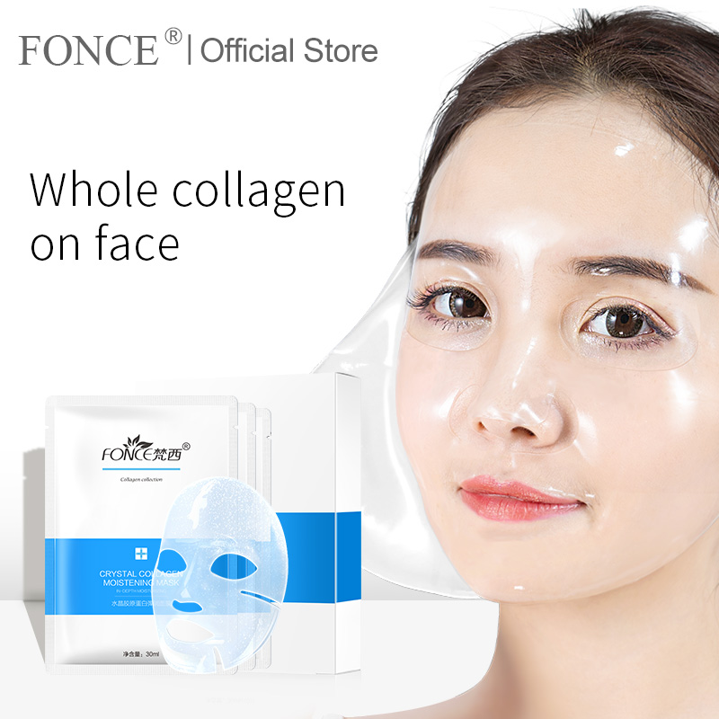 Fonce Korea Gold Collagen Face Mask 10Piece Anti Aging Improve Coarse Rejuvenation Tight Fade Fine Lines Whitening Brighten Skin