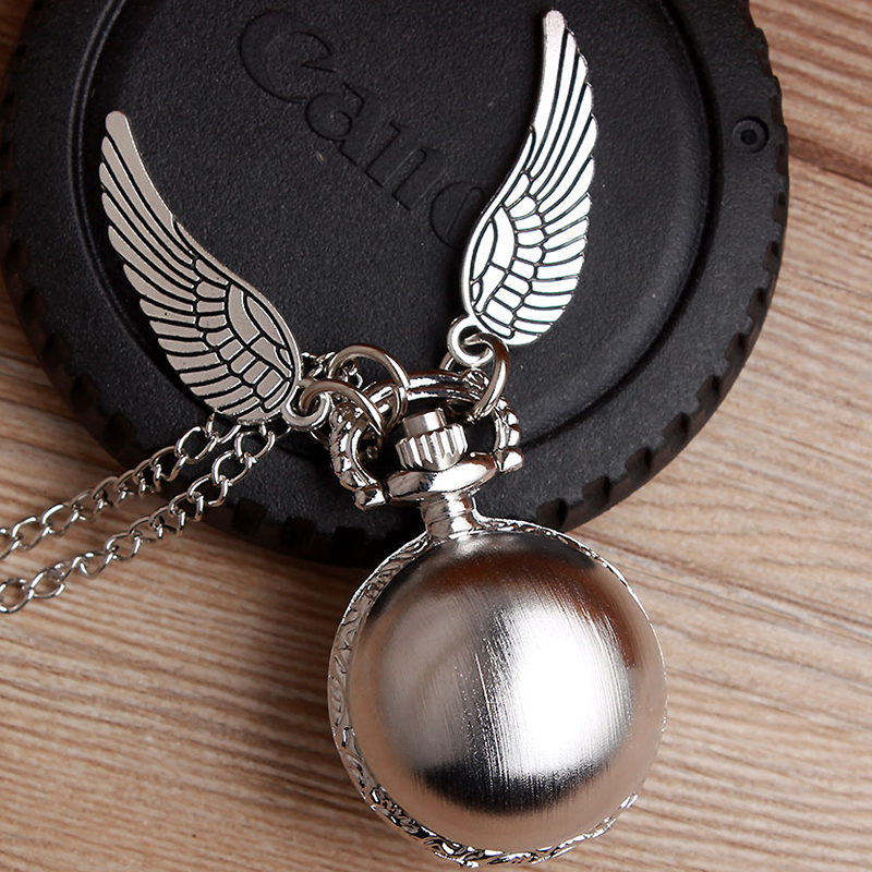 Small Golden Snitch Ball Shaped Potter Quartz Pocket Watch Fashion Sweater Angel Wings Necklace Chain Gifts For Men Women Kids