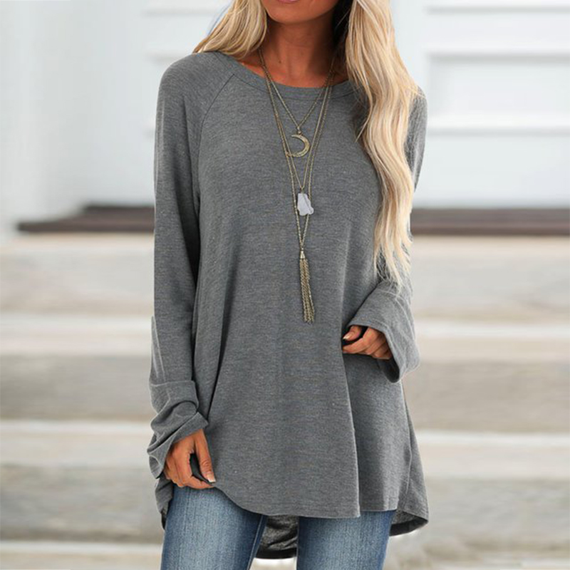Casual Cotton Womens Tops And   Blouses   Autumn Solid Long Sleeve Tunic   Shirts   Plus Size Vintage O Neck Female   Blouses     Shirt   5XL